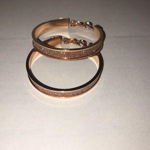 Rose gold glitter sparkle hoop earrings